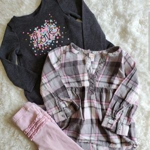 Girls long sleeve tops and ruffle leggings 18 mo